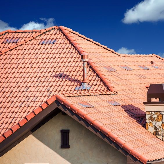 Tile roof with patches